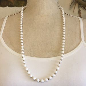 Vintage Monet white glass pearl bead necklace